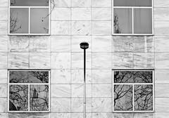 Streetlight & Windows Reflections (Orbmiser) Tags: windows winter bw oregon reflections portland nikon streetlight d90 55200vr