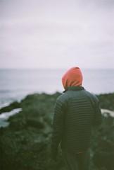 Beach Wanderings (Rachael.Robinson) Tags: ocean winter red canada black color film beach nature 35mm island jacket hood fujifilm campobello