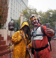 Keep Portland Undead (Zeb Andrews) Tags: halloween oregon mediumformat portland starwars costume downtown pacificnorthwest itsalive pentaconsixtl kodakportra400 pdxzombiewalk filmisnotdead ahhhhzombies filmisnotundead