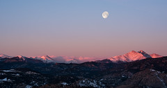 Tail End of The Wolf (courtney_meier) Tags: morning winter moon mountains morninglight nationalpark colorado fullmoon rockymountains longspeak nationalparks moonset wintersunrise rockymountainnationalpark alpenglow indianpeaks coloradorockies usnationalparks mountmeeker wolfmoon mountaudubon