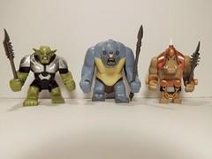 Goblin, Cave Troll, & Ogre (Nilbog Bricks) Tags: lego lotr fantasy goblin troll custom bigfig hobbit orc ogre brickforge brickwarriors