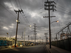 Hour of Power (fhoerr) Tags: railroad sunset weather clouds twilight industrial nightshot streetlights pavement powerlines downtownla vernon dtla ela atdusk eastla boyleheights laskyline nikond610 fredhoerr fhoerr