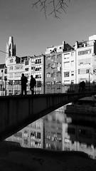 . (piriskoskis.) Tags: city bridge people urban bw vertical reflections branch pano branches silhouettes panoramic girona bnw mobileshot onyar panovertical galaxys4