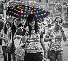 Comical candid moment (FotoGrazio) Tags: street friends people blackandwhite umbrella asian funny eyecontact candid joke philippines group streetphotography highcontrast streetportrait streetscene portraiture manila giggle filipino laughter groupshot joking giggles socialdocumentary candidshot selectivecolor travelphotography lunetapark pacificislanders streetportraiture documentaryphotography grungeeffect topazadjust topazremask fotograzio waynegrazio topazrestyle