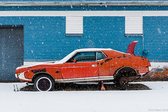 """Jacked Up"" (D A Baker) Tags: county allen javelin amc orange blue garage car auto jack rust bucket paint indiana vintage snow fujifilm x100s daniel baker da"