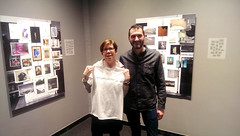 "Instantly Yours & Off the Fridge closing party, 2/26: Refrigecurator Karen Haas and re-frig-nator of the idea, Yorgos Efthymiadis, pose in the ""Off the Fridge"" PRC installation. (PRCBoston) Tags: boston polaroid photography prc bostonsnow bostonuniversity instantphotography cryptid leftofcenter photographicresourcecenter exhibitionclosing bostonphotography impossibleproject bostoncold instagram offthefridge instantlyyoursaoneofakindexhibitionofinstantinstagramphotography instantlyyoursprc"