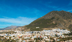 View of Chefchaouen (Pamela Sia) Tags: sky mountains color morocco chaouen chefchaouen lanscape