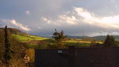 Weather is coming... (rocknrolltheke) Tags: light weather clouds landscape licht hessen felder wolken sunny fields landschaft sonne lux luce wetter lumen odenwald luminosity southerngermany gersprenztal wetterfront