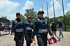On the Move (Pedestrian Photographer) Tags: park city ladies woman 3 castle water lady female radio mexico three bottle women cops walk top sunday young hats july police ciudad trio vests badges policia ribbet officers 2015 walkie talkie chapultapec cdmx dsc8424 dsc8424b