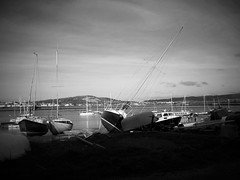 repose (vfrgk) Tags: sky blackandwhite bw monochrome sailboat landscape boats dawn lightandshadows peaceful shade mast littlepeople repose calmness sailingboat