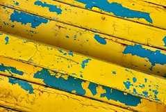 Paint Textures (Karen_Chappell) Tags: old blue abstract lines yellow boat paint textures weathered
