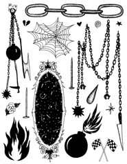 Tattoo Flash Sheet (leannaperry) Tags: white black art halloween tattoo illustration dark fire mirror design chains flickr artist graphic drawing flash emo goth victorian tattoos haunted spooky chain cobweb artists sheet leanna bomb perry