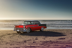 1956 Bel Air for Super Chevy Magazine (Richard.Le) Tags: sunset red hot classic chevrolet beach sunrise magazine photography muscle sony air automotive super chevy le american commercial richard editorial rod 1956 pismo bel feature b1 profoto a7rii