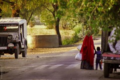the way home (@my_inner_horses) Tags: street boy people woman india child mother agra son motherhood