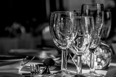 Ready For Dinner? (Liz Liz Liz Liz) Tags: wedding blackandwhite glass monochrome dinner table dof wine bokeh eating depthoffield eat meal