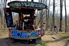Sunny Abandonment (FrogLuv) Tags: bike bicycle spring crane abandonment dragline inexplore sterlingheightsmichigan frogbum jotrevor willammalow clintonriverparkdodgepark