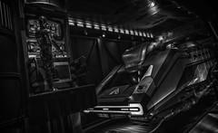 droids fixing ships (Eddy Alvarez) Tags: blackandwhite bw nerd contrast star orlando florida space parks lucasfilm indoor disney lucas r2d2 movies wars tours props c3po movieprops disneyhollywoodstudios
