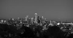 Seattle Skyine at Dusk (B&W)
