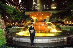 Dr. Takeshi Yamada and Seara (Coney Island sea rabbit) at the Josephine Shaw Lowell Memorial Fountain at the Bryant Park in Manhattan, NY on October 13, 2015.  20151013 DSCN0426=5050pC all (searabbits23) Tags: wild ny newyork sexy celebrity rabbit art hat fashion animal brooklyn asian coneyisland japanese star tv google king artist dragon god manhattan famous gothic goth uma ufo pop taxidermy vogue cnn tuxedo bikini timessquare tophat unitednations playboy entertainer oddities genius mermaid amc mardigras salvadordali performer unicorn billclinton seamonster billgates aol vangogh curiosities sideshow jeffkoons globalwarming takashimurakami pablopicasso steampunk damienhirst cryptozoology freakshow leonardodavinci seara immortalized takeshiyamada museumofworldwonders roguetaxidermy searabbit barrackobama ladygaga climategate minnesotaassociationofroguetaxidermists  manwithrabbit