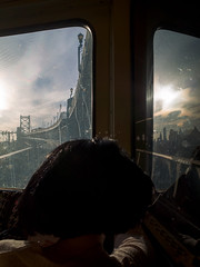 The Movies Outside her Mind (c. Melon Images) Tags: street city travel bridge sky people urban woman philadelphia window train candid 28mm streetphotography philly ricoh ricohgr 18mm dirtywindowseries