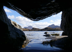 Cul Beag & Stac Pollaidh (McRusty) Tags: blue sky white west clouds scotland framed north fluffy stac pollaidh highland wee cave cul assynt beag neatly