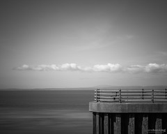 Pier End (laura.hacking) Tags: ocean uk longexposure sea blackandwhite seascape texture water monochrome architecture docks mono coast pier seaside waterfront cloudy outdoor jetty victorian wideangle landmark location historic lancashire coastline british seafront curve bnw blackandwhitephotography waterscape