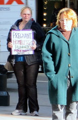 pregnant (D G H) Tags: daveheston downtown panhandler seattle sidewalk street sign pregnant woman homeless city urban streetphotography candid dgh