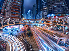 Causeway Bay, Hong Kong (mikemikecat) Tags: street bridge red hk house building architecture night hongkong twilight colorful nightscape main central cityscapes olympus fisheye hong kong lighttrails nightview   causewaybay  hdr     samyang         livecomposite mikemikecat  em10markii