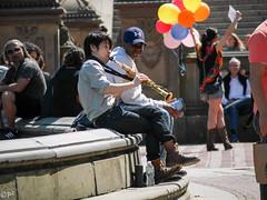 Bethesda Fountain (THE ARCH1) Tags: nyc newyorkcity music ny newyork balloons spring centralpark streetphotography saxophone springtime newyorkny bethesdafountain bethesdaterrace