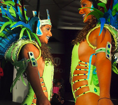 Sideview of costume - Panorama (stephenweir) Tags: carnival toronto parade warehouse scarborough sideview caribana paradecostume sideboob manipulatedpicture featheredheaddress sexycostume greencostume mascostume costumelaunch nuggetavenue sunlimemas costumesideview