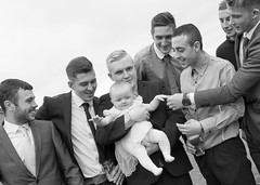 Who's the baby. (CWhatPhotos) Tags: pictures uk england baby white black men boys monochrome smile canon that photography mono three day foto lads image artistic pics iii group picture smiles pic guys images we have photographs together photograph fotos christening 5d which contain cwhatphotos 5diii