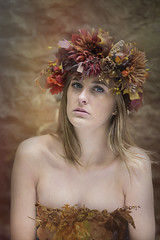 Harvest Queen (Michelle Hughes Walsh Photography) Tags: light portrait girl beautiful fashion photography model eyes natural posing garland vogue cover browns ambient editorial headpiece engaging autumnly