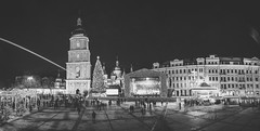New Year St. Sophia square in Kiev (Sergey Bogun) Tags: street new city sky people urban panorama white black tree church architecture night buildings lights concert europe cityscape year ukraine citylights kiev kyiv sophia