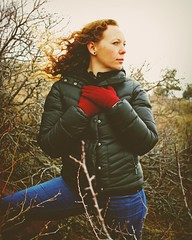 032 | 366 | V (Randomographer) Tags: winter red woman cold nature field standing pose hair outdoors ginger branch wind jeans human jacket gloves puffy 32 blown 366 project366
