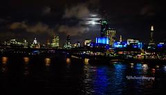 London by moonlight. (Albatross Imagery) Tags: city uk england moon london thames river lights nightscape capital stpauls moonlight nightlife theshard