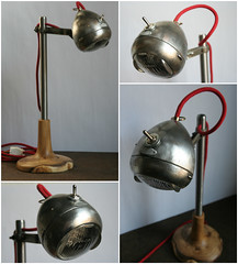 Light Rider: Desk Lamp from Upcycled Bike Light (irecyclart) Tags: wood lamp bike metal vintage industrial led desklamp upcycled upcycling bicyclelamp