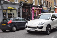 DSC_9668 Hackney Road London White Porsche Cayenne  SUV 4x4  J8XVV with Chinese Driver (photographer695) Tags: road white flower london with 4x4 market chinese columbia cayenne porsche driver hackney suv j8xvv