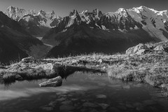 Chamonix Skyline (sunstormphotography.com) Tags: blackandwhite france mountains alps landscape thealps chamonix montblanc frenchalps aiguilledumidi lacblanc chamonixvalley grandesjorasses polarisingfilter canon24105l montblancmassif aiguilledesgrandcharmoz ndgradfilter canon5dmark3