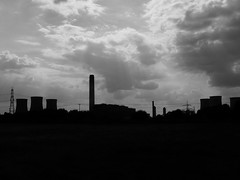 Pipeline (mdavidford) Tags: light sky blackandwhite silhouette clouds industrial power towers electricity rays pylons generation didcot chimneys coolingtowers hyperbolic didcotpowerstation didcota