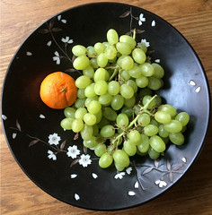 black green and orange (jimforest) Tags: tangerine grapes