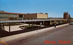 Albany Airport, New York (SwellMap) Tags: architecture plane vintage advertising design pc airport 60s fifties aviation postcard jet suburbia style kitsch retro nostalgia chrome americana 50s roadside googie populuxe sixties babyboomer consumer coldwar midcentury spaceage jetset jetage atomicage