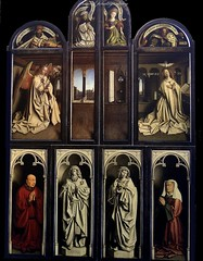 The Mystic Lamb by the Van Eyck brothers , Ghent (jackfre2) Tags: belgium restoration vaneyck panels polyptych ghent gent gand flanders altarpiece mysticlamb stbaafskathedraal museumoffineartsghent vaneyckbrothers caermerscloister cathedralstbavon