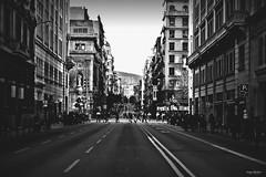 Via Laitena sin coches (Jorge Medina Mediavilla) Tags: barcelona blanco y negro bcn via catalunya laitena
