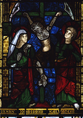 """Worfield, Shropshire, """"St. Peter's"""", St. Nicholas's chapel, stained glass window, detail (groenling) Tags: uk greatbritain england stpeters window glass saint john shropshire britain mary jesus stainedglass gb crucifixion salop worfield"""