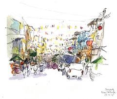Street, Bangkok (Delphine PS) Tags: bangkok aquarelle thailande carnetdevoyage