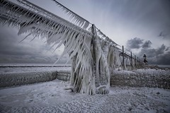 Angular (Notkalvin) Tags: winter lighthouse lake cold ice pier frozen outdoor michigan stjoseph lakemichigan arctic shore iced icy frigid icicles verycold icedover mikekline notkalvin notkalvinphotography