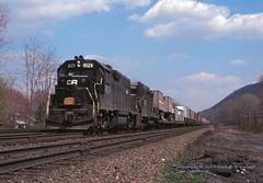 CR 8129-2193, TV-12, Cove, PA. 4-14-1978 (jackdk) Tags: railroad train pc cove railway locomotive cr conrail emd intermodal gp38 gp30 penncentral tv12 trailertrain gp35 middledivision emdgp38 covepa emdgp382 conrailtv12