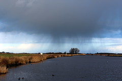 Look pa! It's raining over there! (Davydutchy) Tags: holland netherlands rain ferry canal pluie pont february paysbas friesland regen fhre waterway niederlande vaart 2016 frysln langweer langwar langweerdervaart brekken langwarderfeart