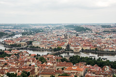 View from Petrin Tower, Petnsk Rozhledna, of St Charles Bridge, Church of Our Lady before Tn, Vltava River, Prague, Czech Republic 2 (Kris McNeil) Tags: bridge our church st lady river republic czech prague charles before most vltava karlv tn petrintower petnskrozhledna