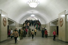 Pyongyang Metro (Frhtau) Tags: life city people building public station fashion by architecture del stairs asian design asia do leute traffic metro eingang centre capital north decoration entrance style scene korea du daily east treppe korean rush hour transportation ubahn architektur exit nord norte pyongyang core causual corea koreanisch dprk philosophie ausgang juche coria coreia passers nordkorea